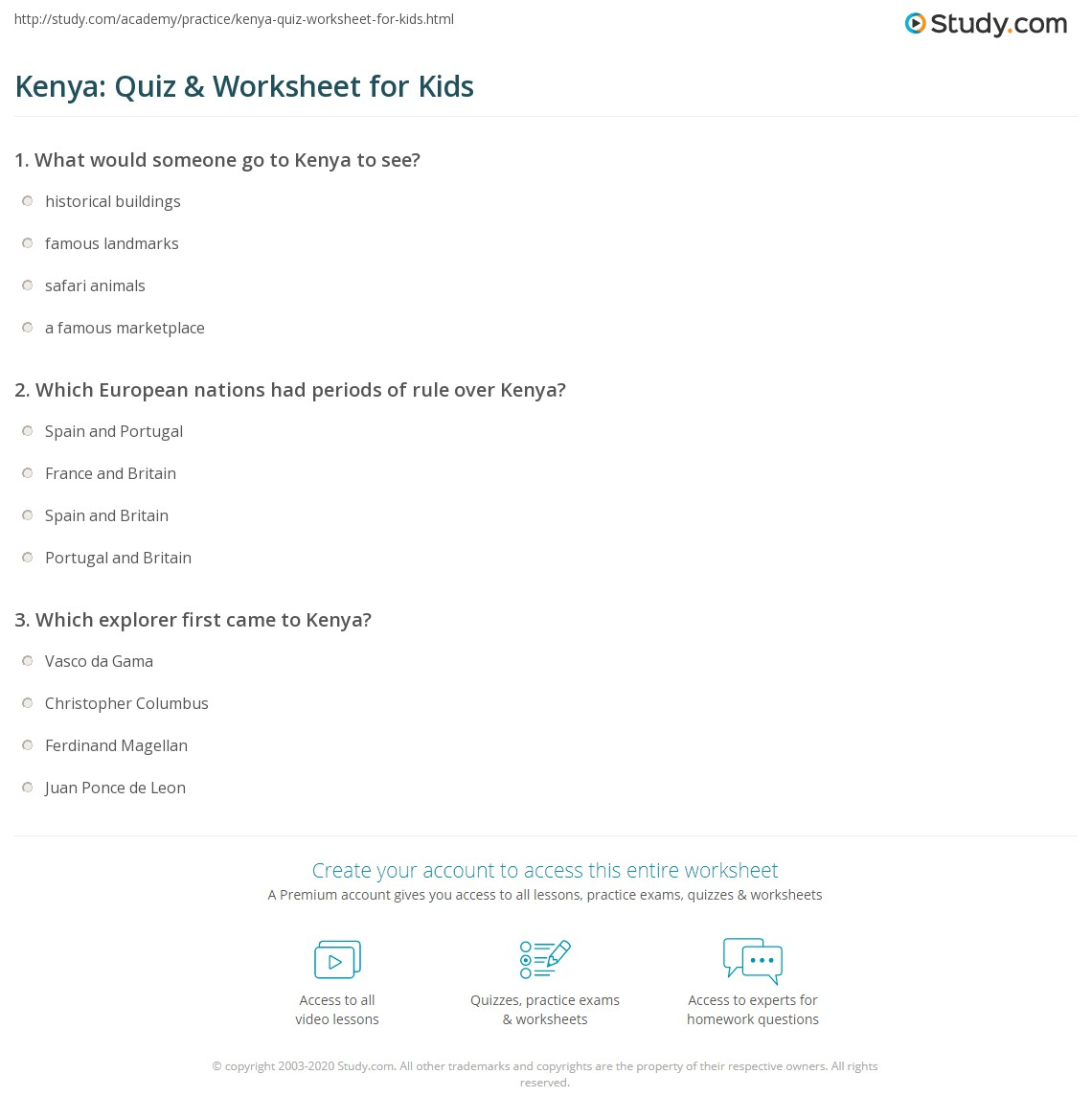 Kenya Quiz Amp Worksheet For Kids