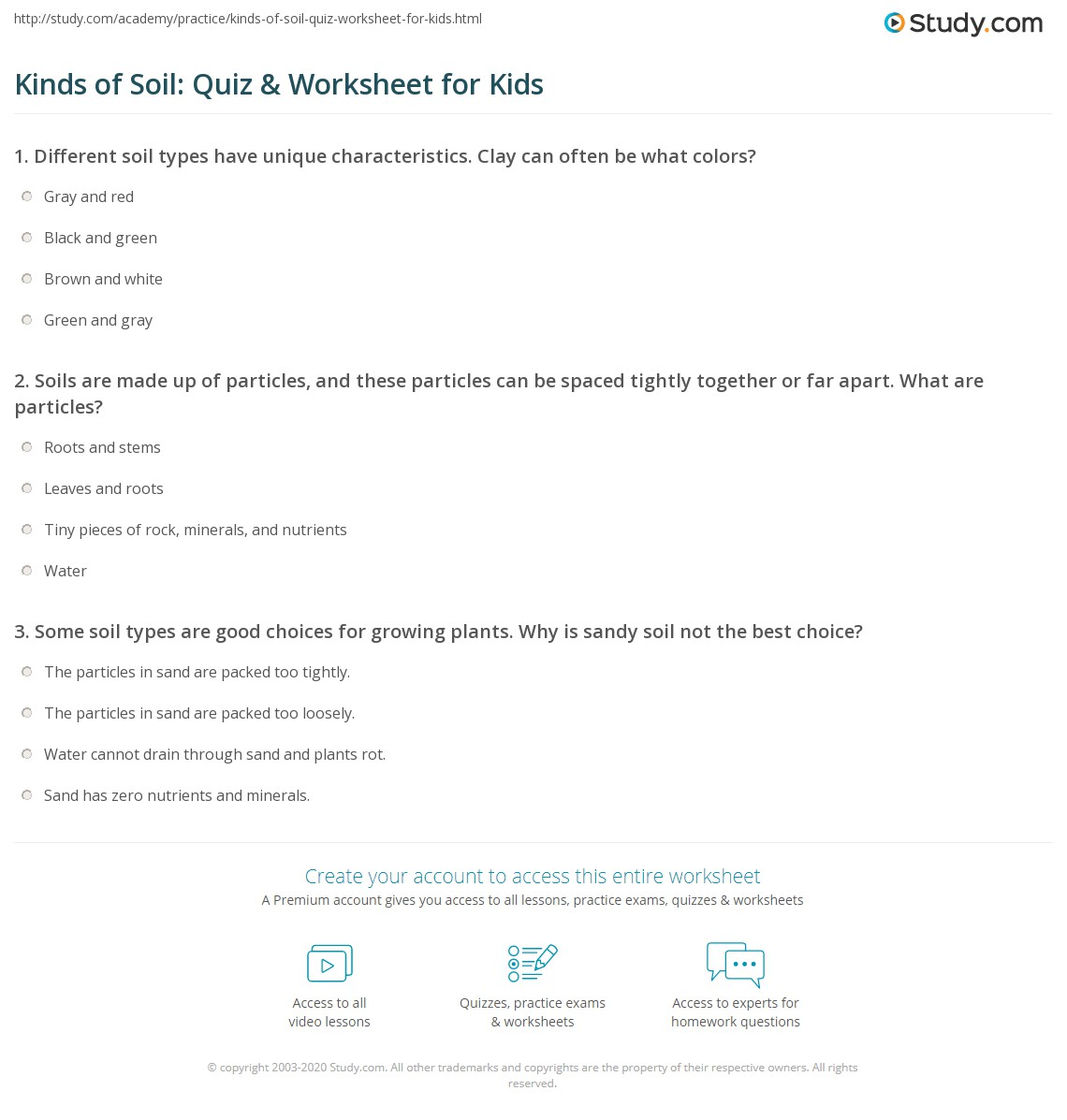 Kinds Of Soil Quiz Amp Worksheet For Kids