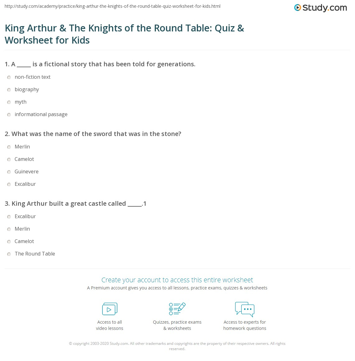 King Arthur Amp The Knights Of The Round Table Quiz Amp Worksheet For Kids