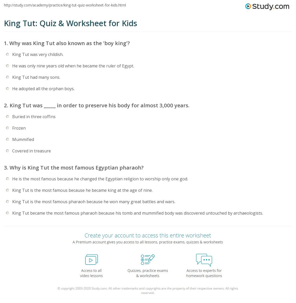 King Tut Quiz Amp Worksheet For Kids