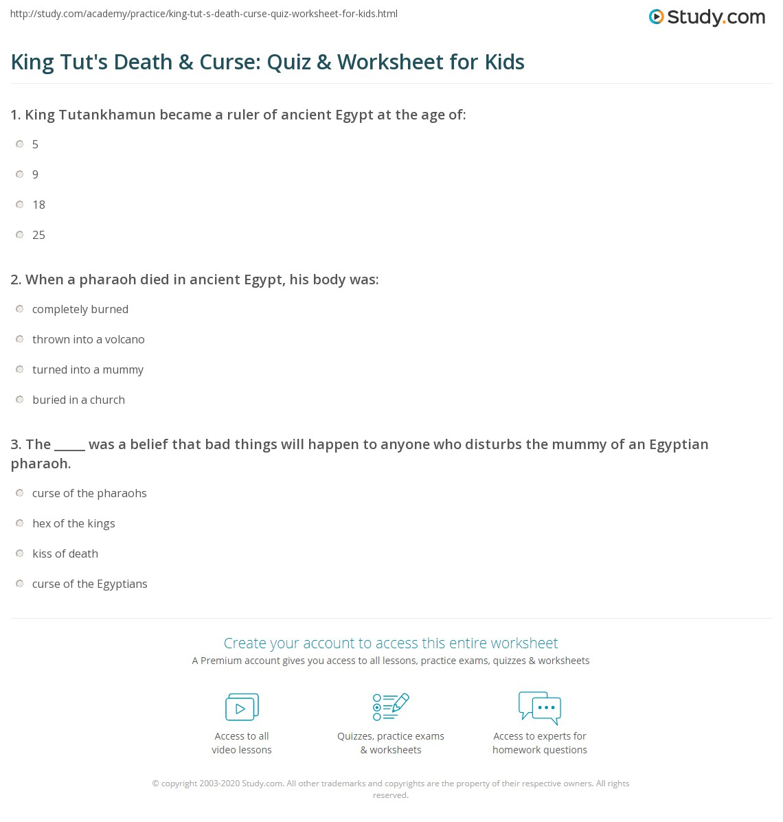 King Tut S Amp Curse Quiz Amp Worksheet For Kids