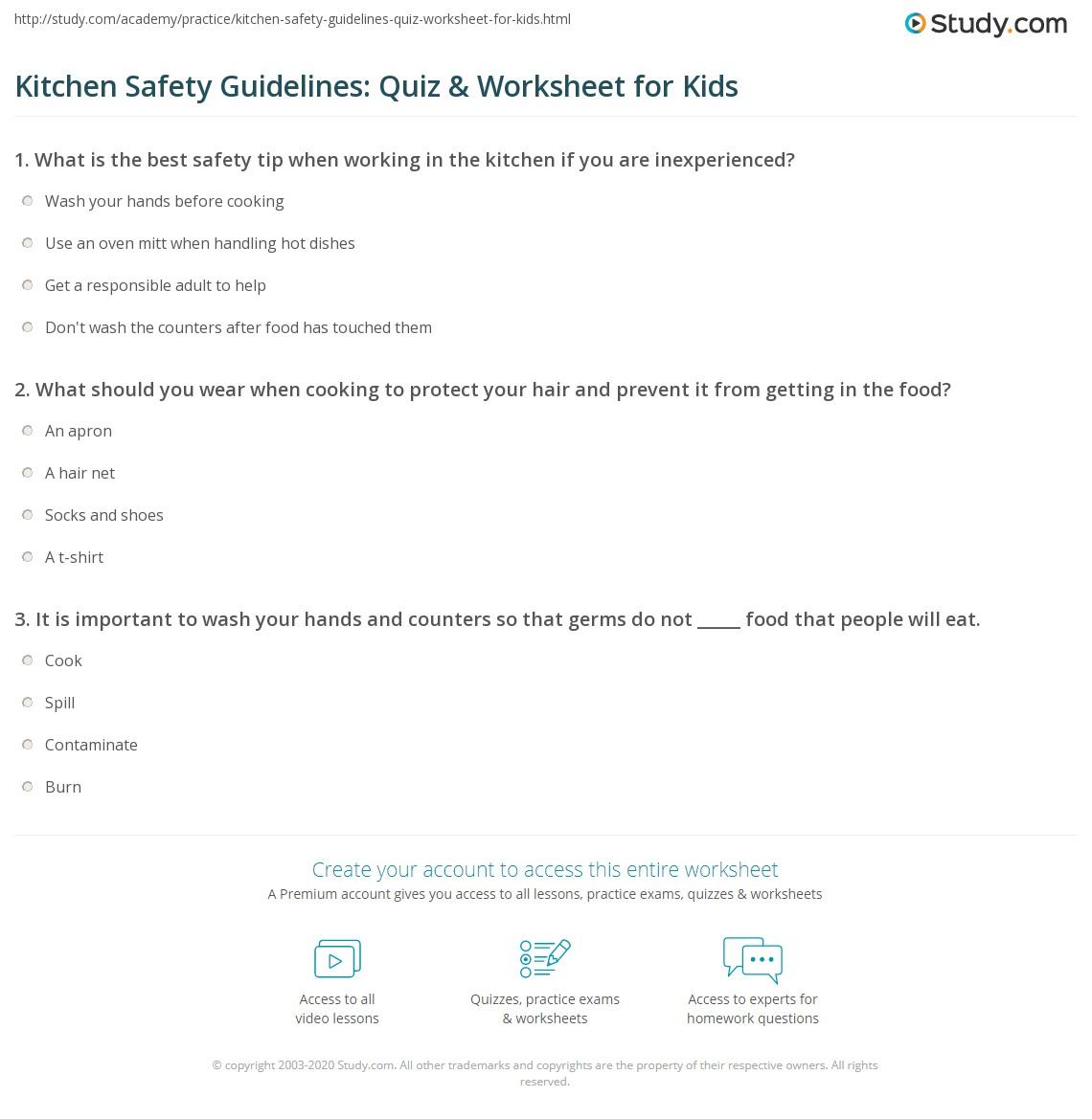 Kitchen Safety Guidelines Quiz Amp Worksheet For Kids