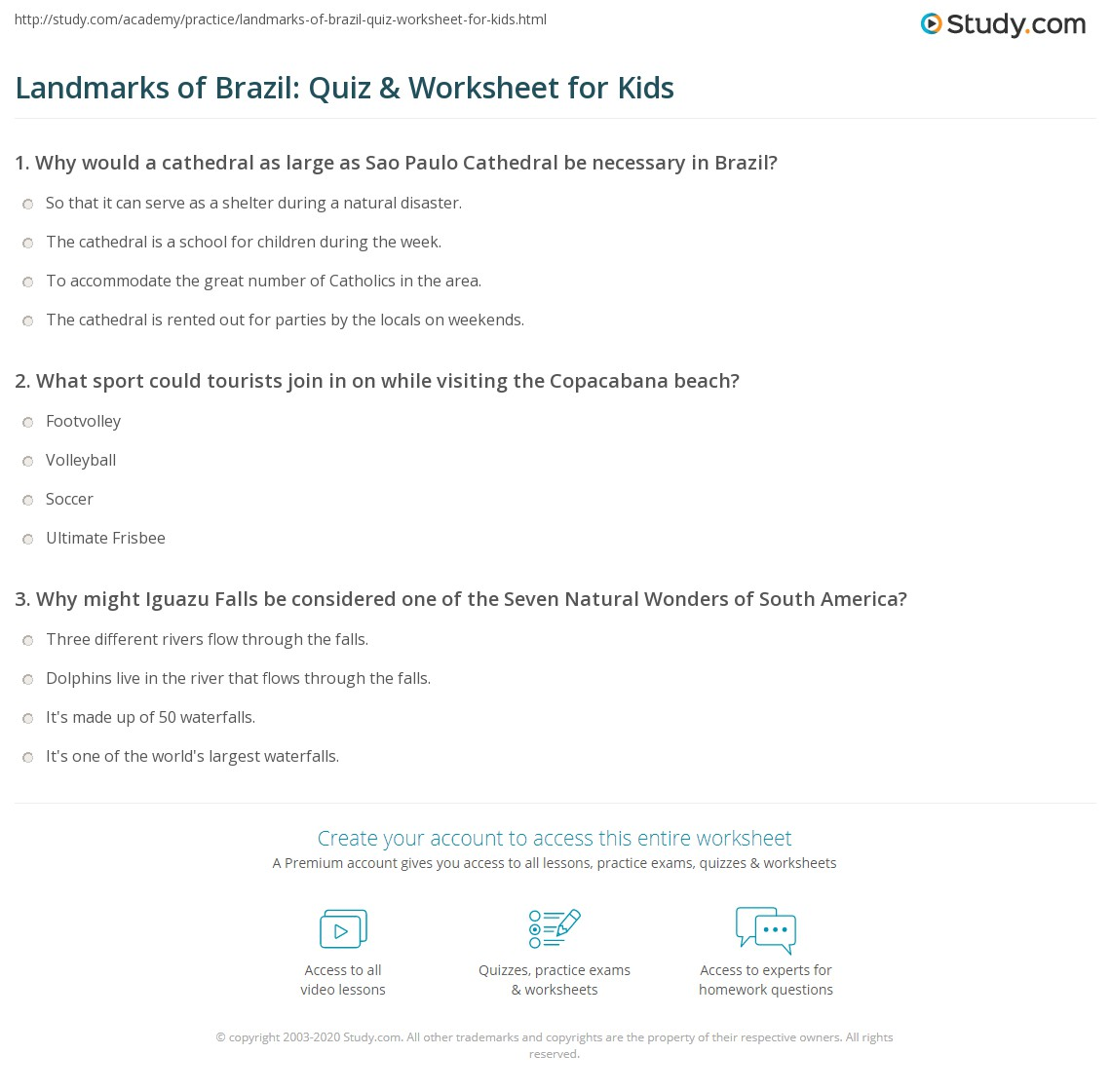 Landmarks Of Brazil Quiz Amp Worksheet For Kids