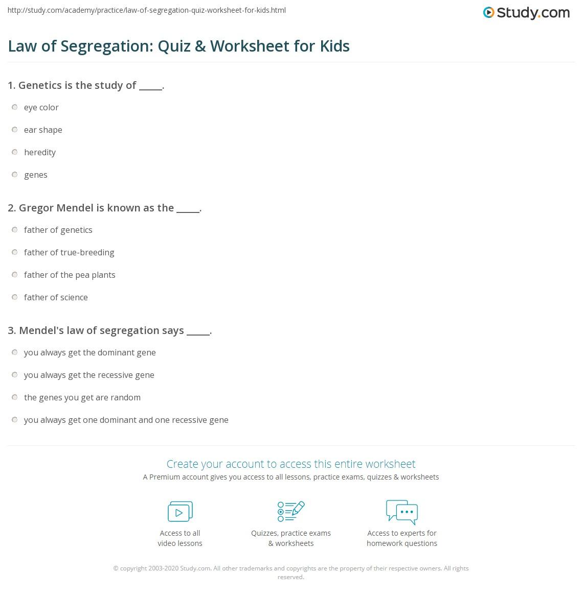 Law Of Segregation Quiz Amp Worksheet For Kids