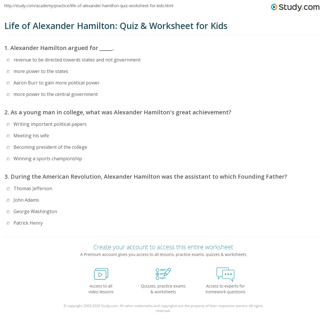 Life Of Alexander Hamilton Quiz Amp Worksheet For Kids
