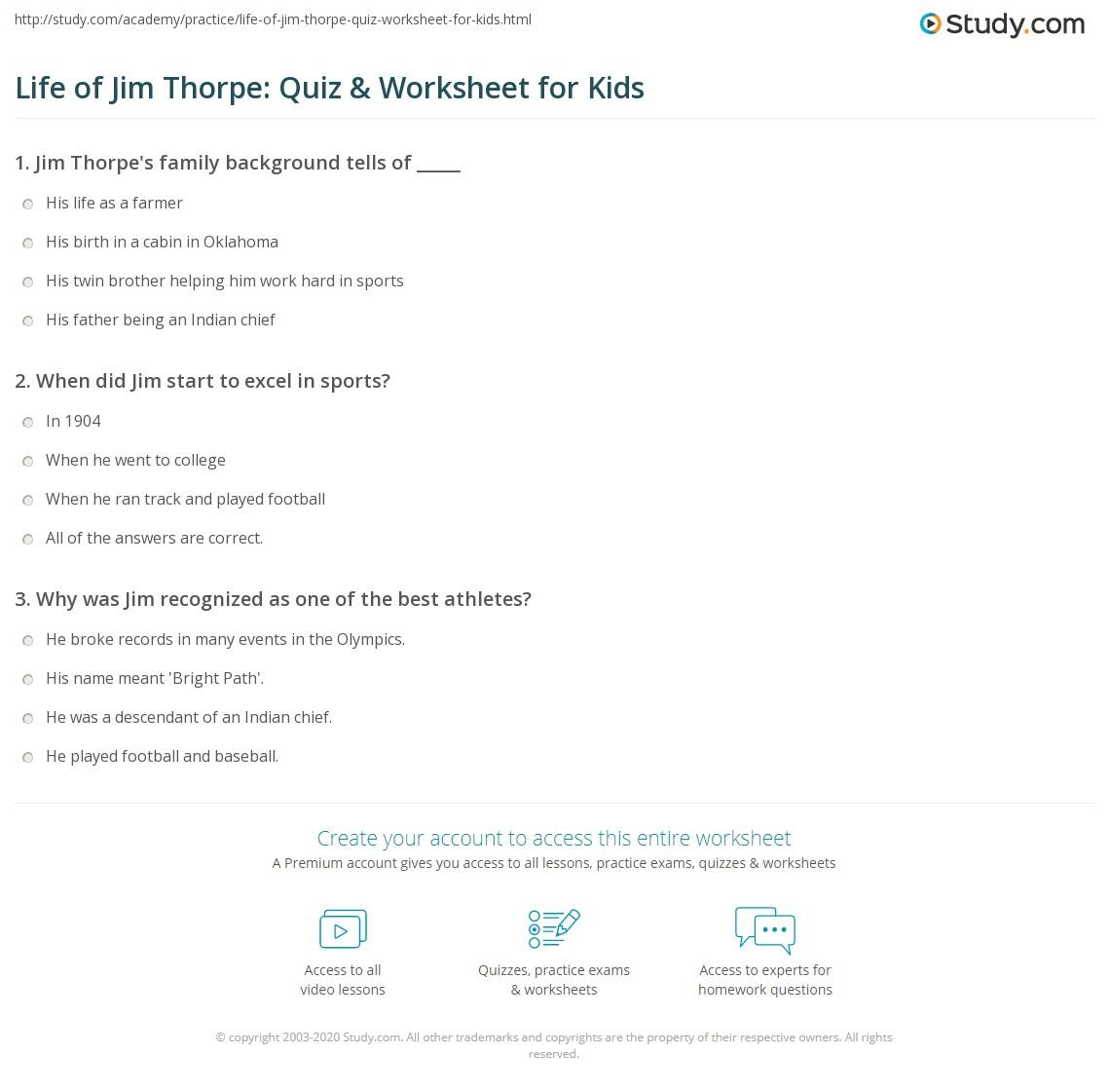 Life Of Jim Thorpe Quiz Amp Worksheet For Kids