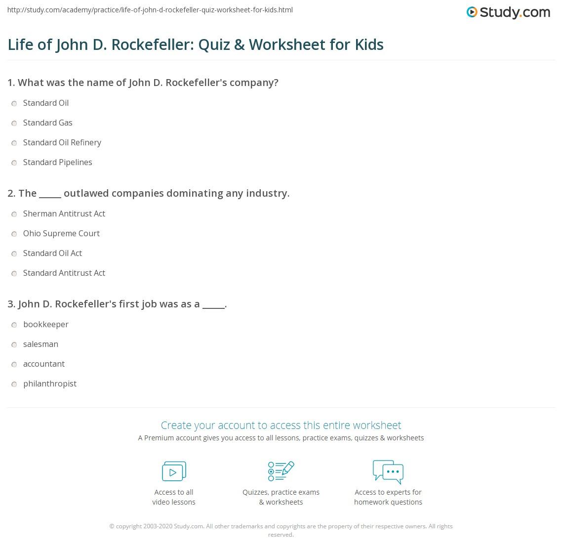 Life Of John D Rockefeller Quiz Amp Worksheet For Kids
