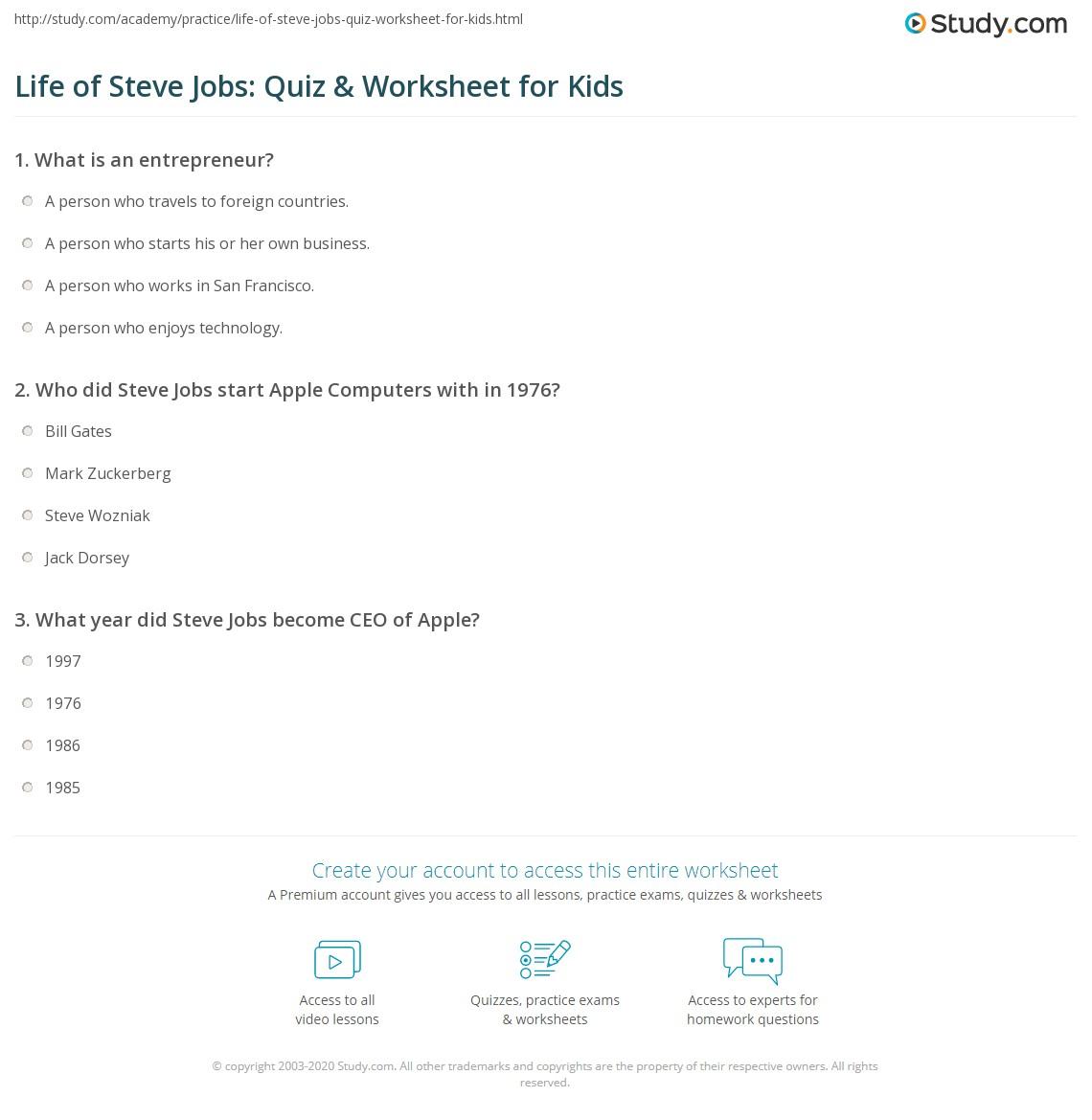 Life Of Steve Jobs Quiz Amp Worksheet For Kids