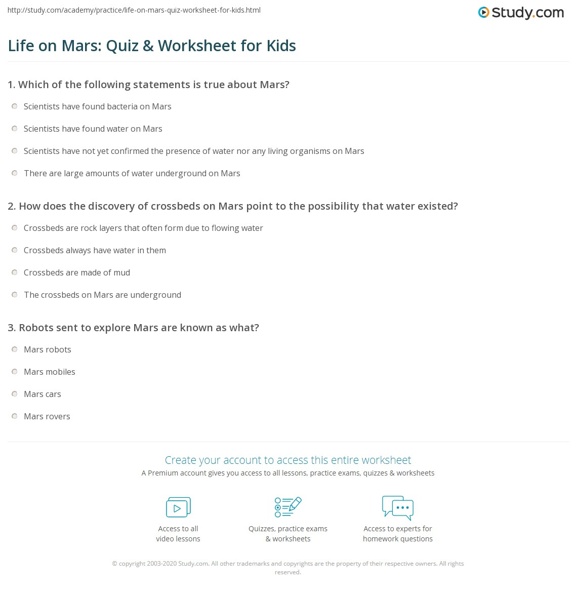 Life On Mars Quiz Amp Worksheet For Kids