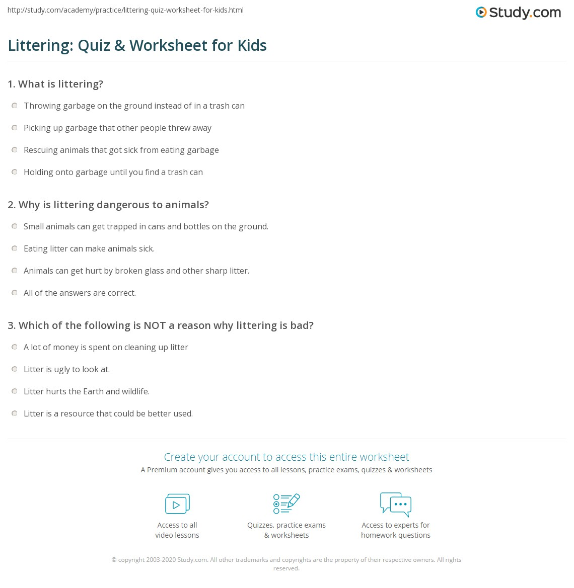 Littering Quiz Amp Worksheet For Kids