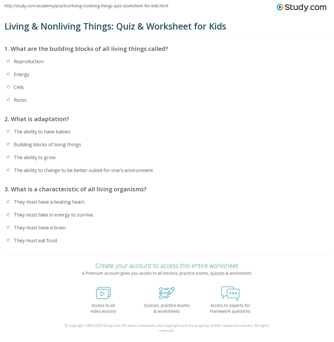 Living Amp Nonliving Things Quiz Amp Worksheet For Kids