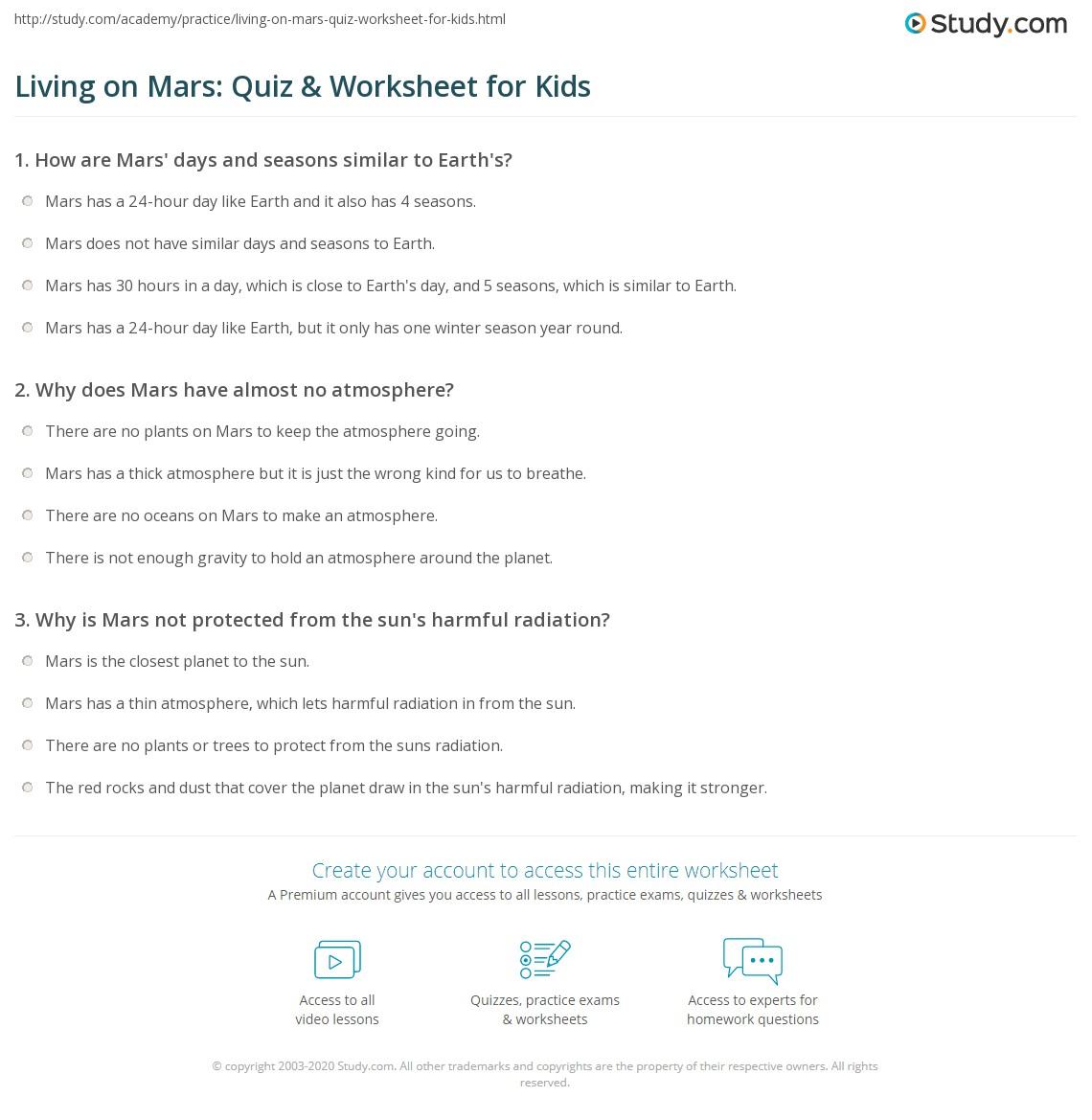 Living On Mars Quiz Amp Worksheet For Kids