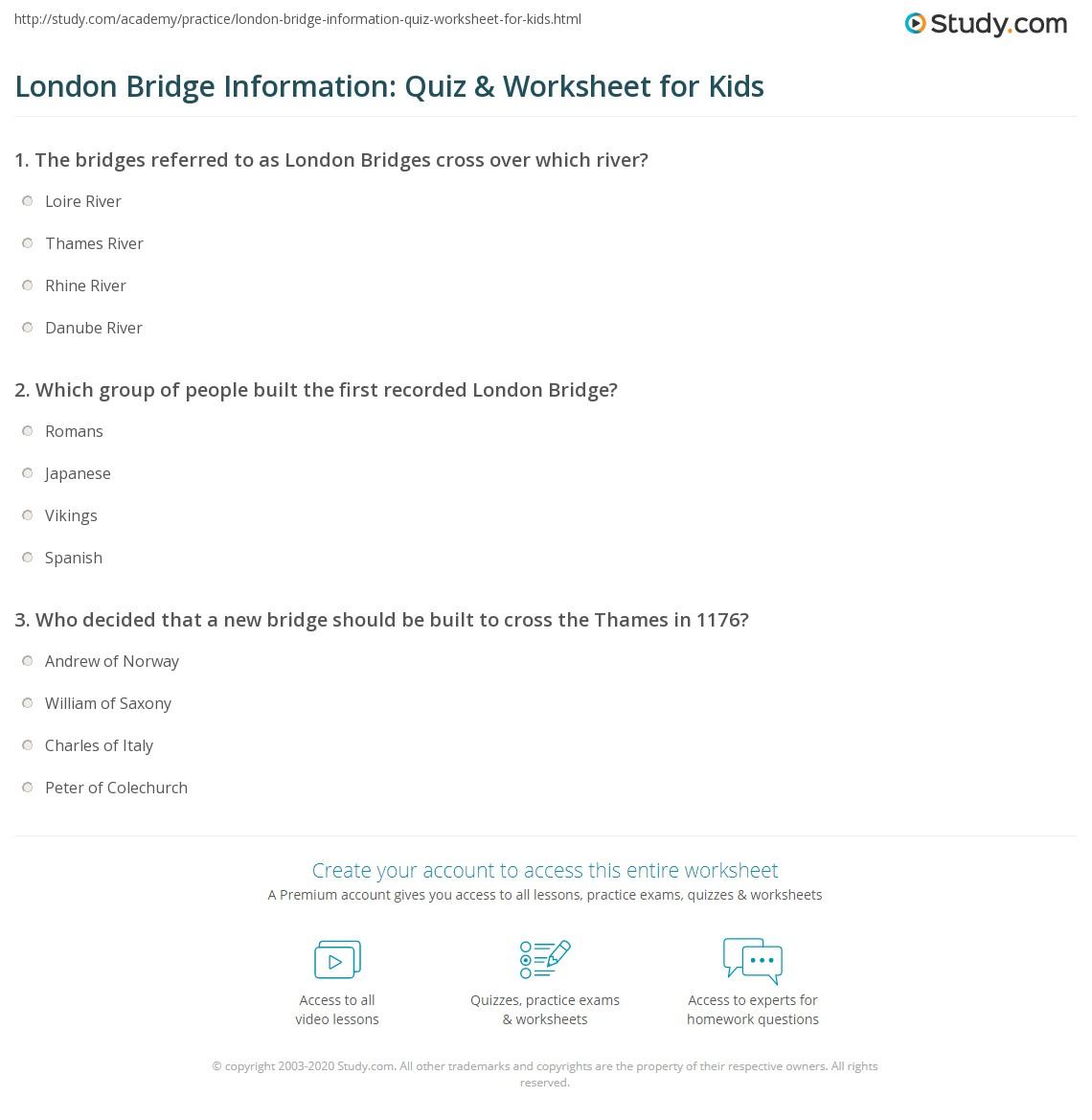 London Bridge Information Quiz Amp Worksheet For Kids