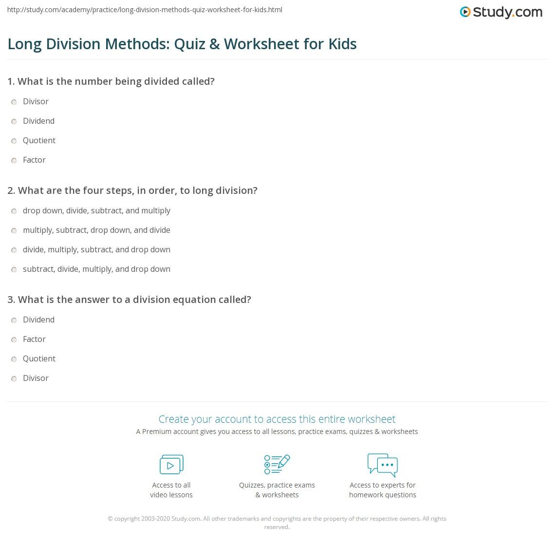 Long Division Methods Quiz Amp Worksheet For Kids
