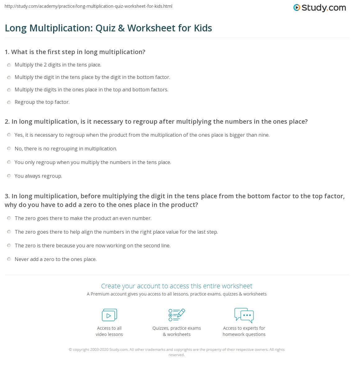 Long Multiplication Quiz Amp Worksheet For Kids