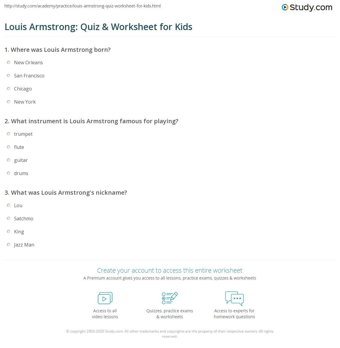 Louis Armstrong Quiz Amp Worksheet For Kids