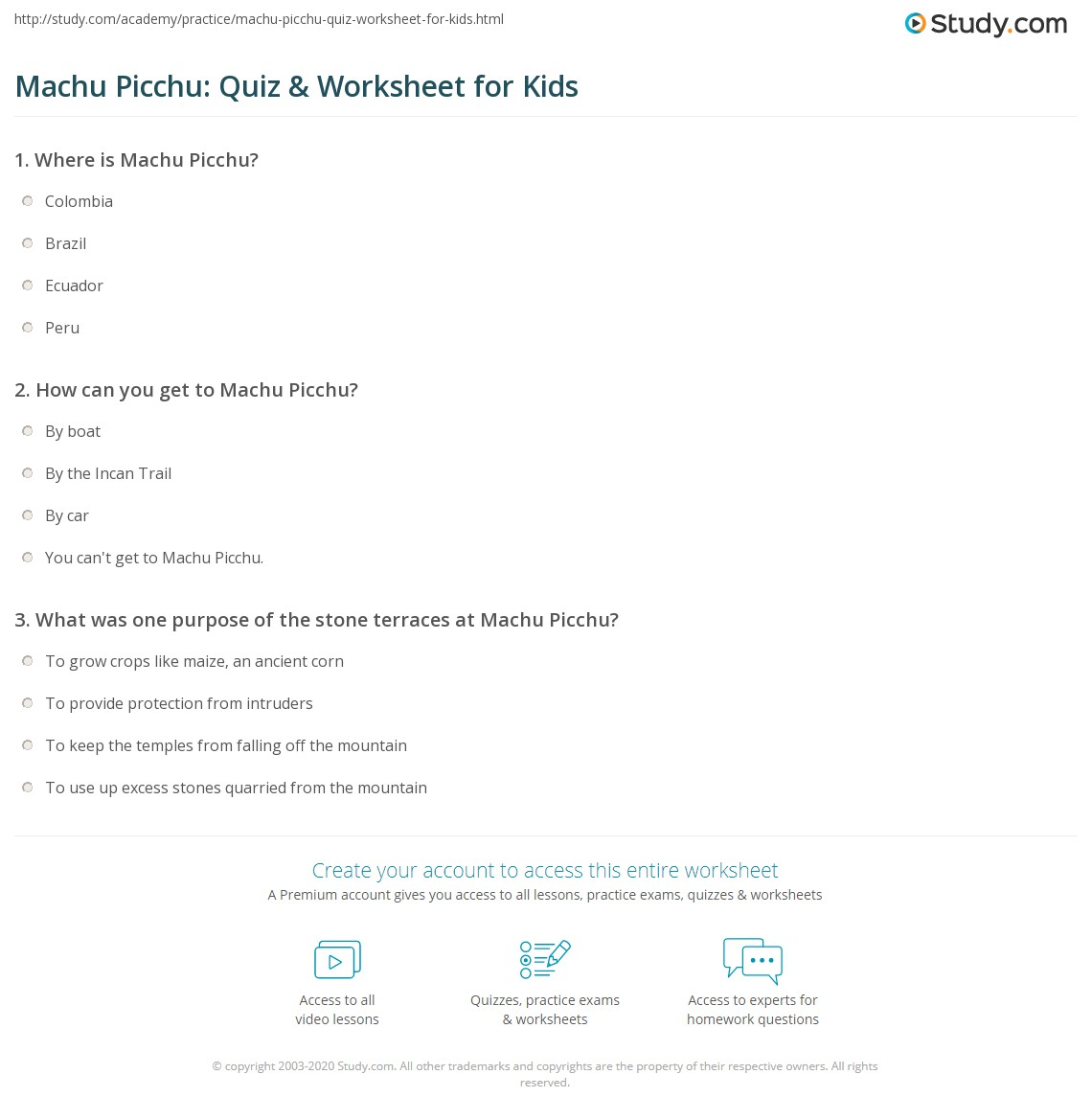 Machu Picchu Quiz Amp Worksheet For Kids