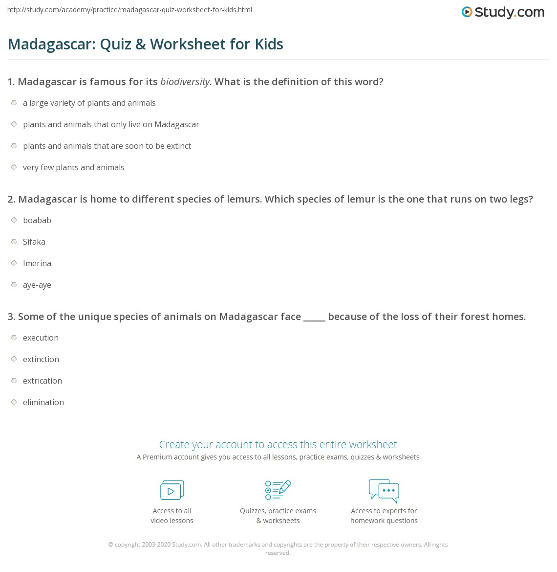 Madagascar Quiz Amp Worksheet For Kids