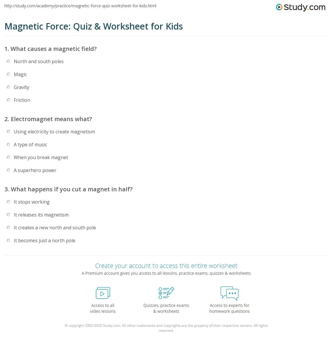 Magnetic Force Quiz Amp Worksheet For Kids
