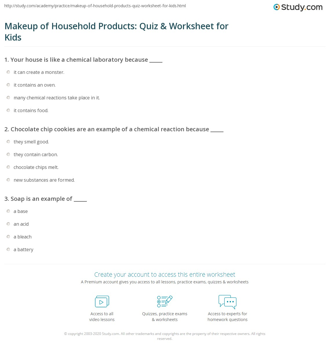 Makeup Of Household Products Quiz Amp Worksheet For Kids
