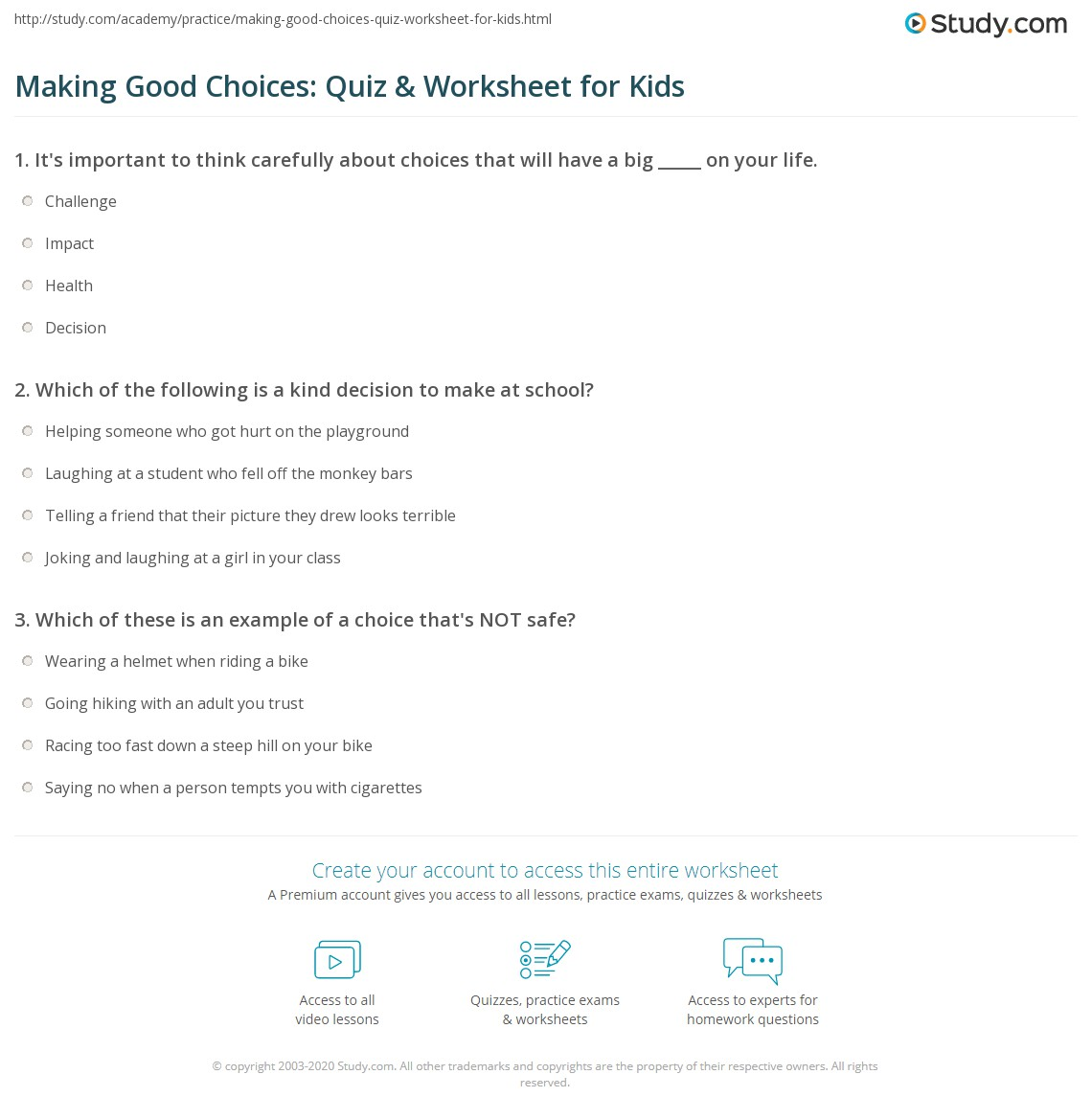 Making Good Choices Quiz Amp Worksheet For Kids
