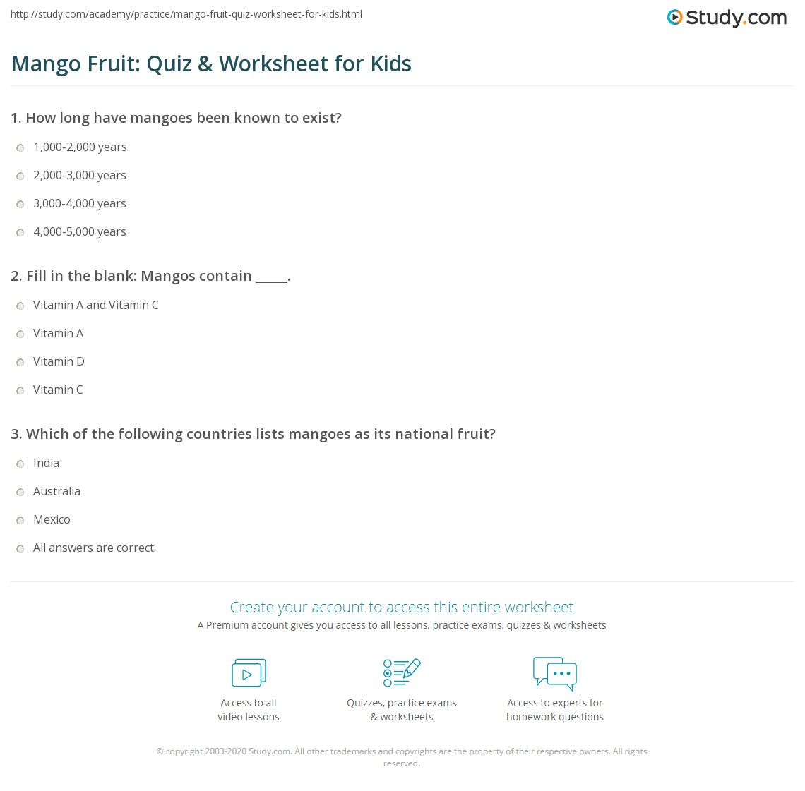 Mango Fruit Quiz Amp Worksheet For Kids