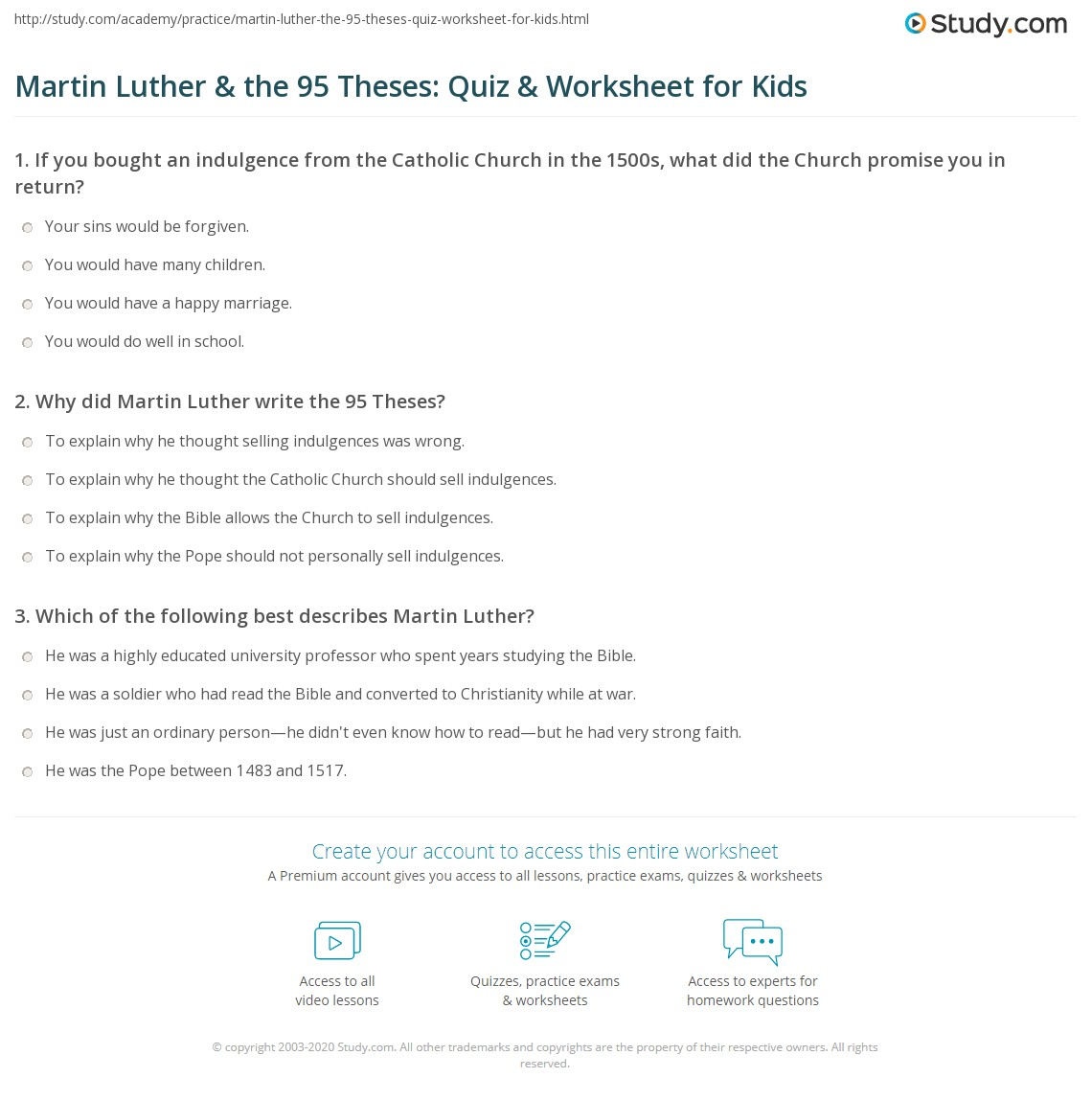 Martin Luther Amp The 95 Theses Quiz Amp Worksheet For Kids