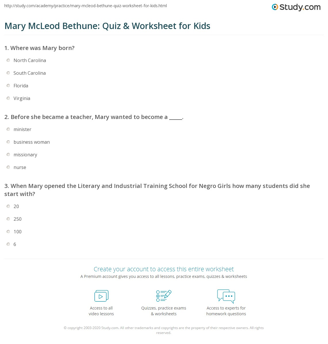 Mary Mcleod Bethune Quiz Amp Worksheet For Kids