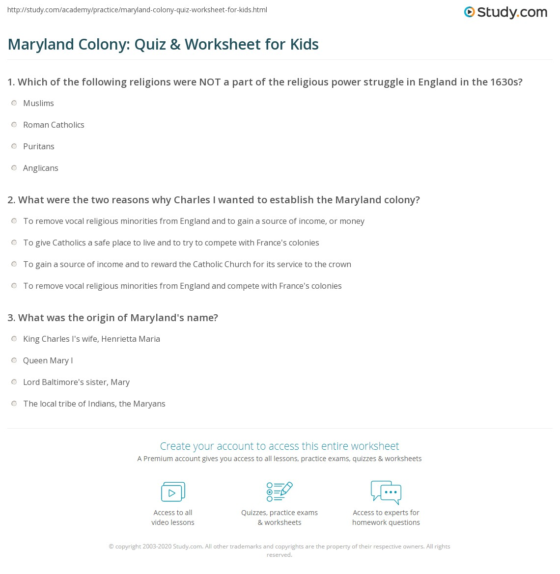 Maryland Colony Quiz Amp Worksheet For Kids