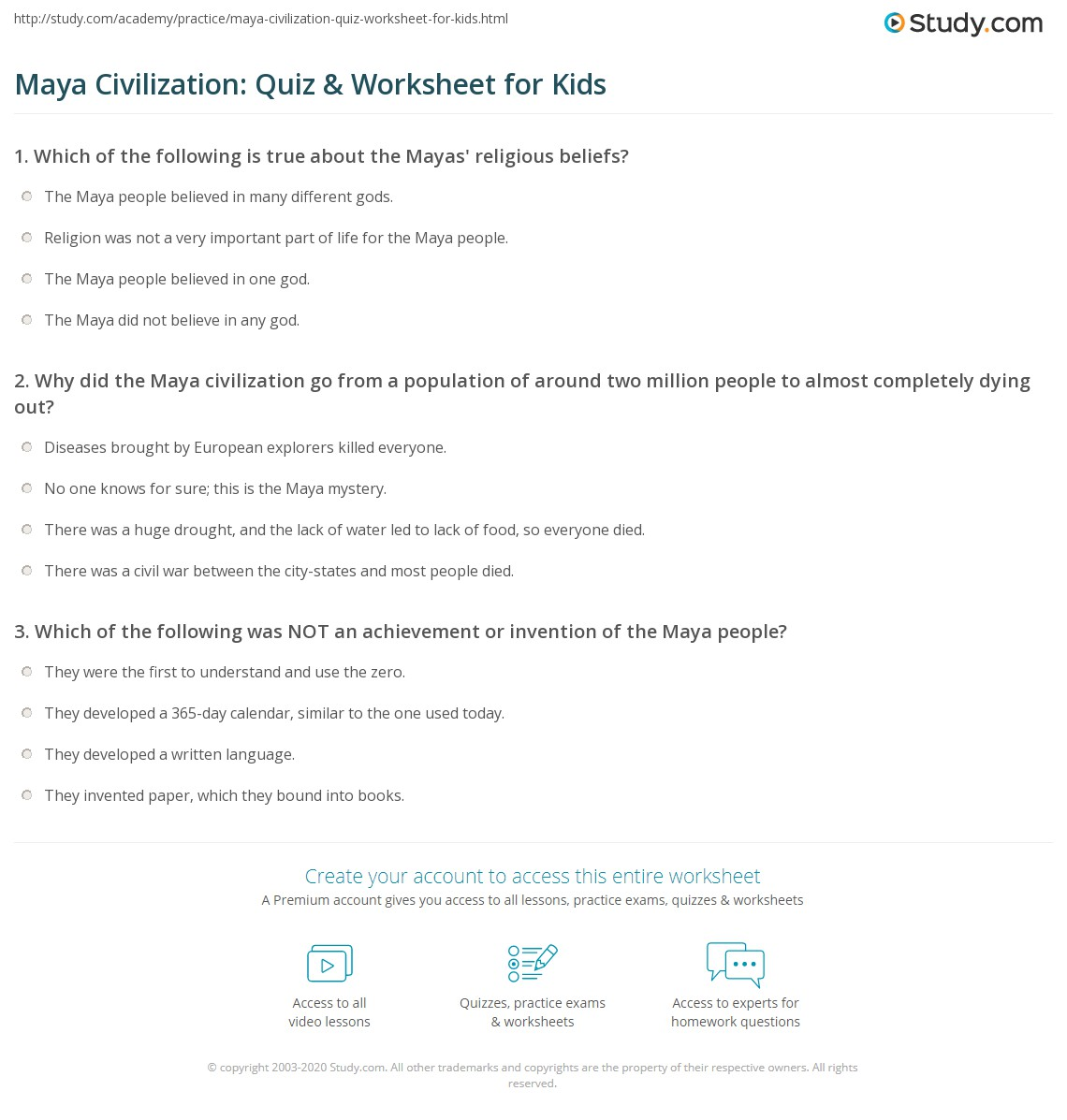 Free Ancient Mayan Worksheets