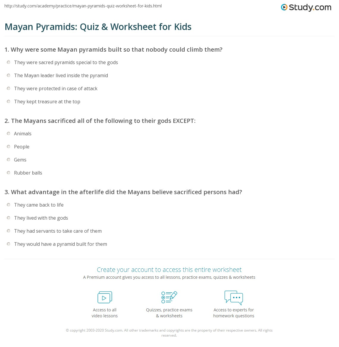 Mayan Pyramids Quiz Amp Worksheet For Kids