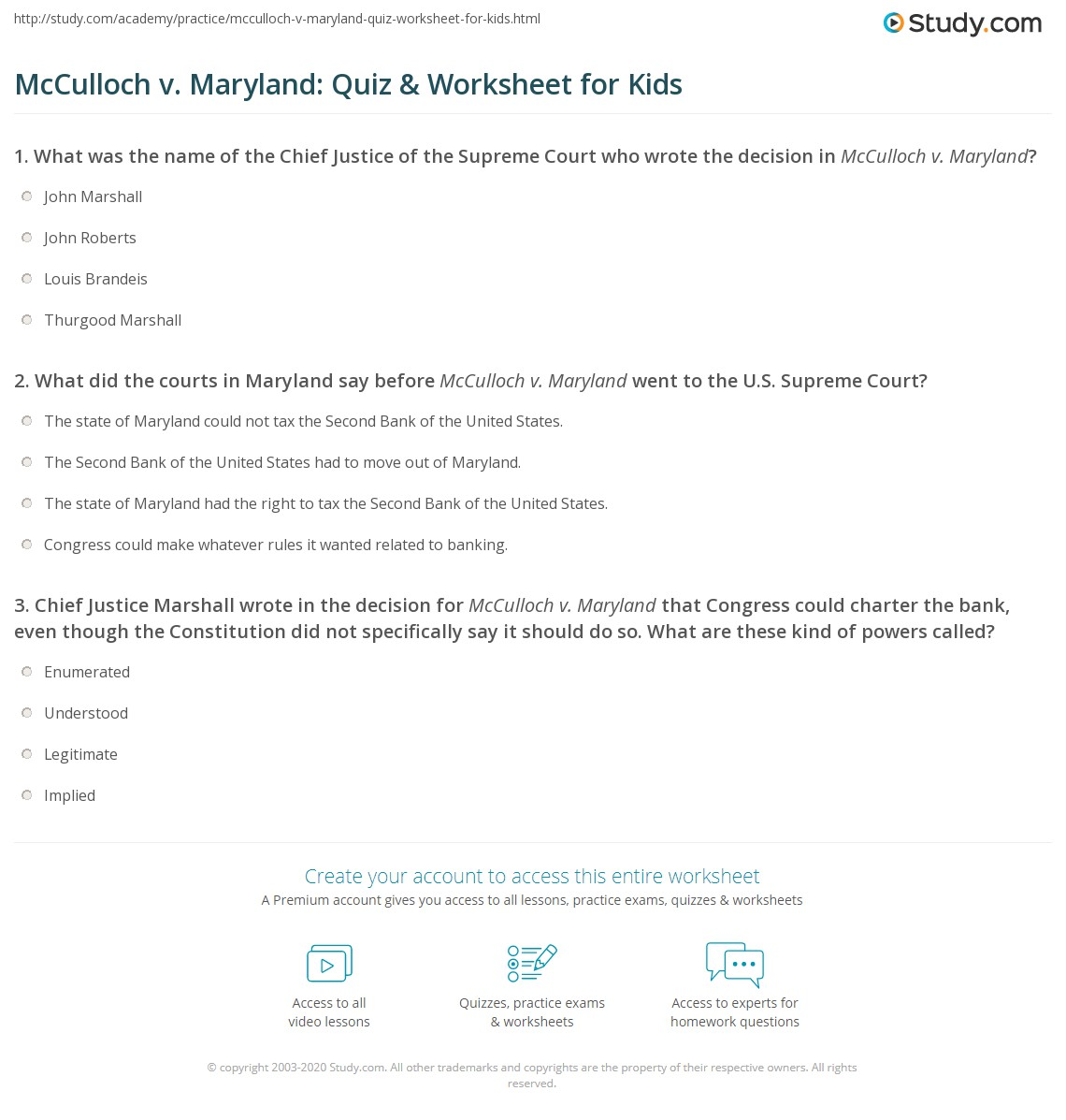 Mcculloch V Maryland Quiz Amp Worksheet For Kids