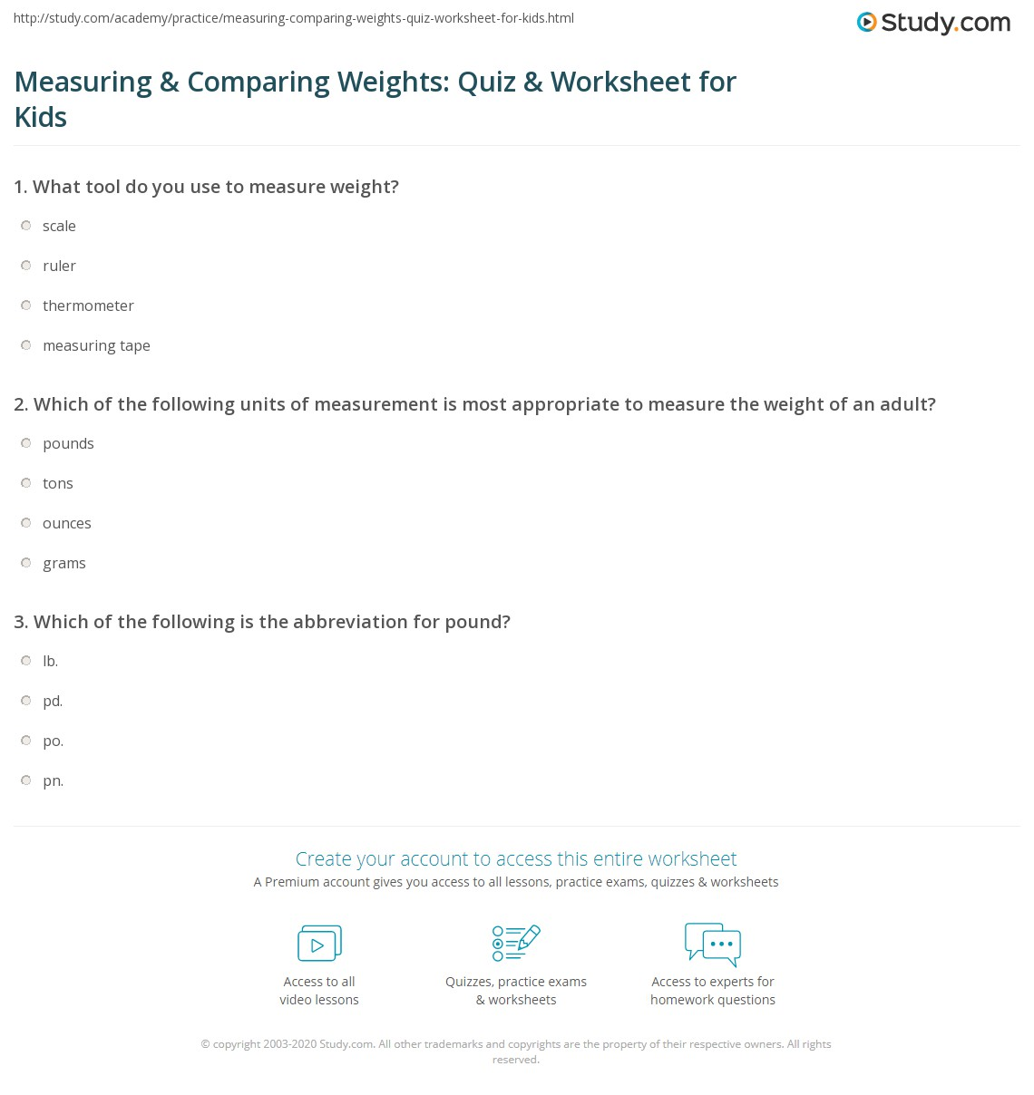 Measuring Amp Comparing Weights Quiz Amp Worksheet For Kids