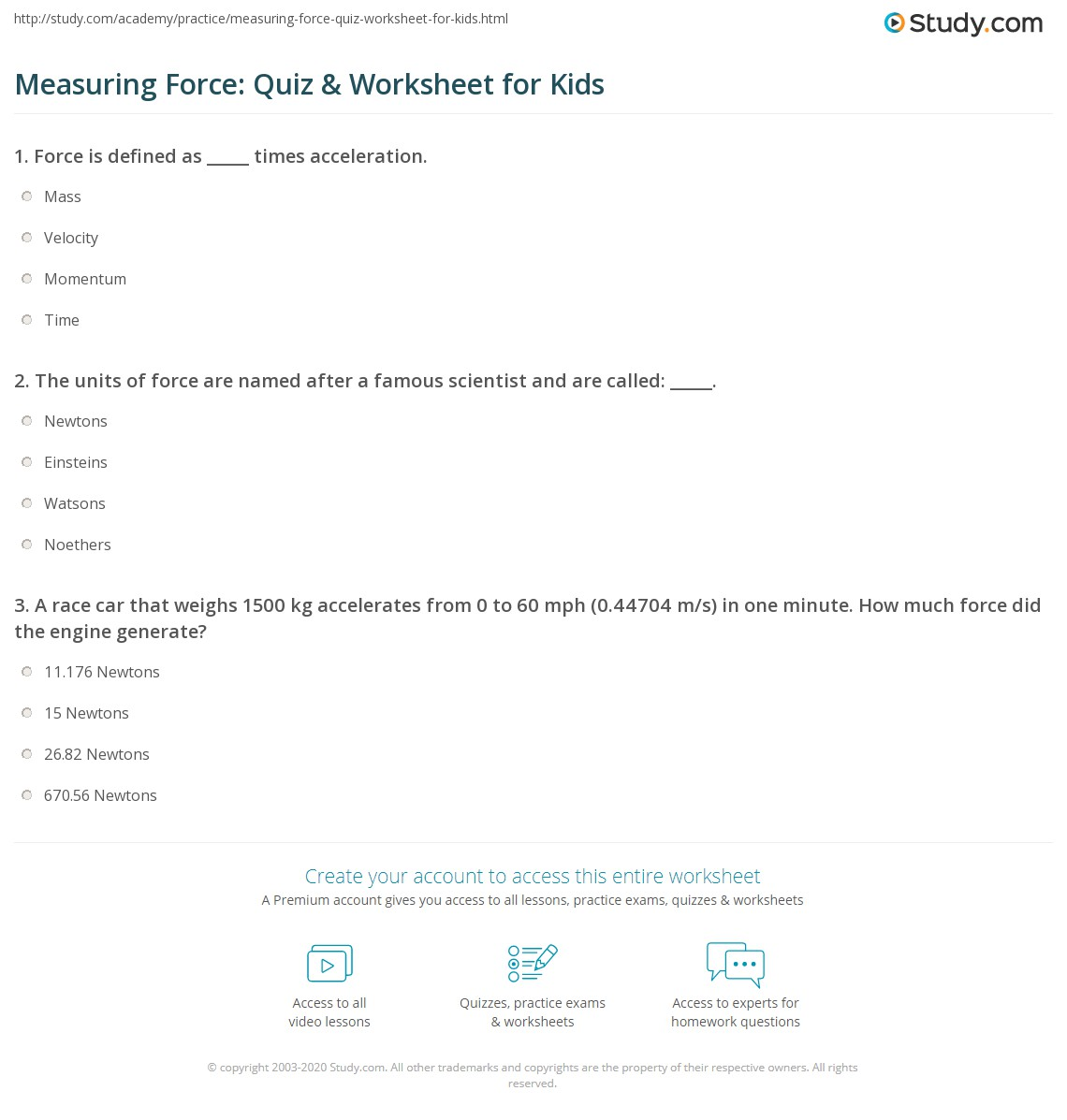 Measuring Force Quiz Amp Worksheet For Kids