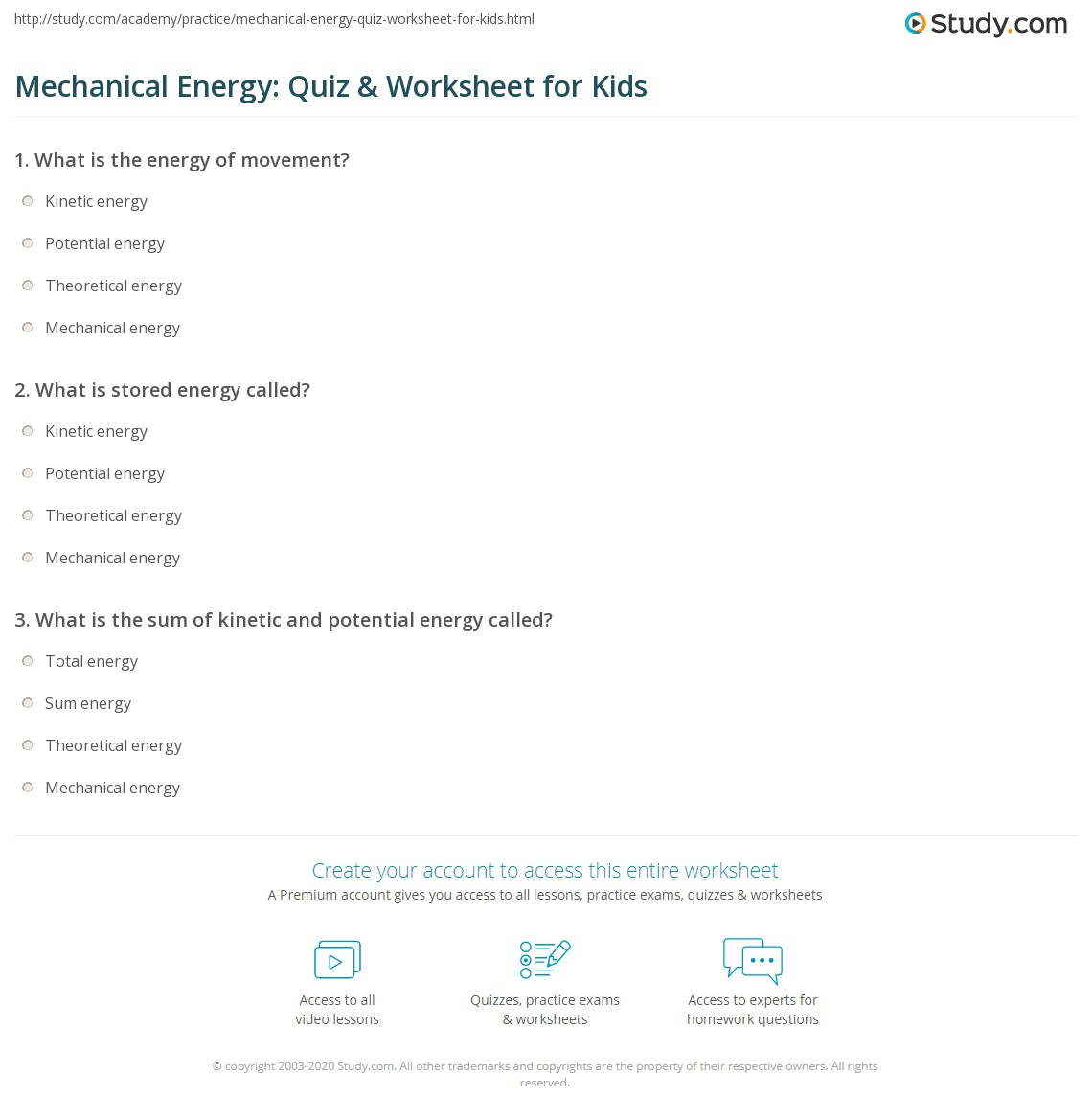 Mechanical Energy Quiz Amp Worksheet For Kids