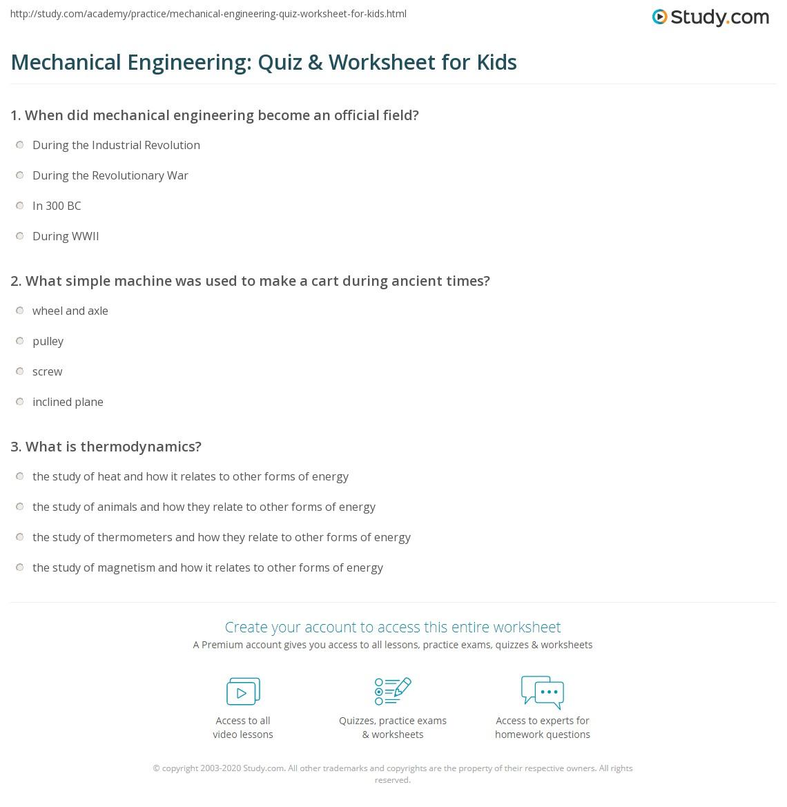 Mechanical Engineering Quiz Amp Worksheet For Kids