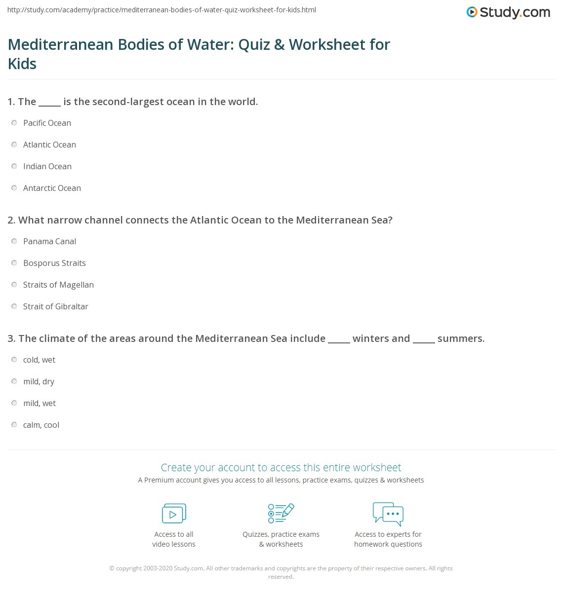 Oceans And Seas Of The World Worksheet
