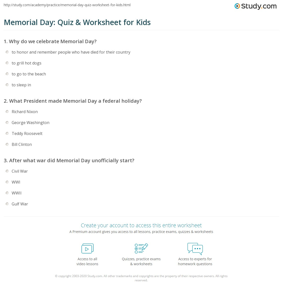 Memorial Day Quiz Amp Worksheet For Kids