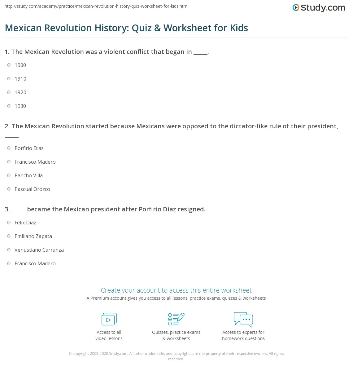 Mexican Revolution History Quiz Amp Worksheet For Kids