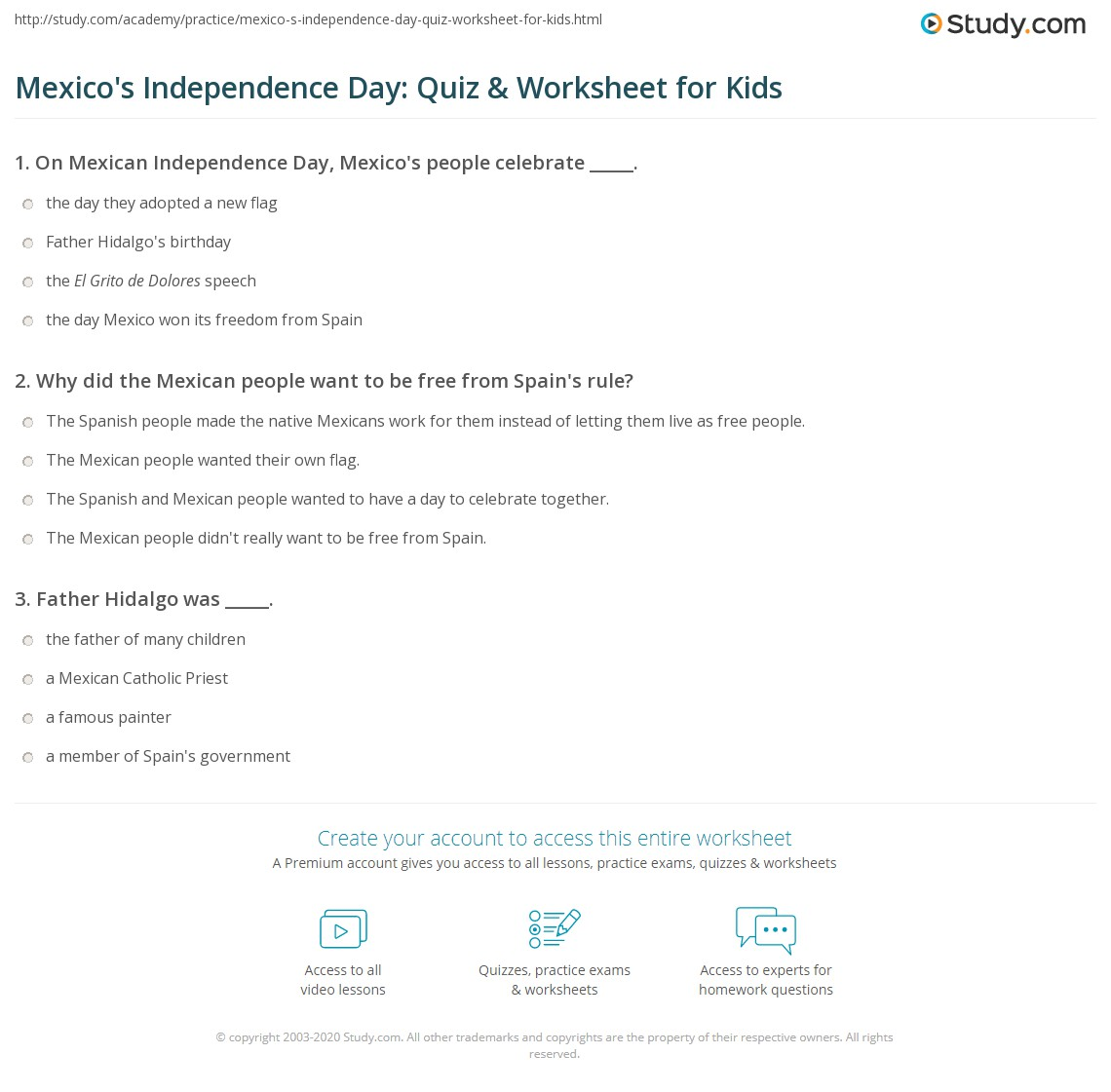 Mexican Independence Worksheet