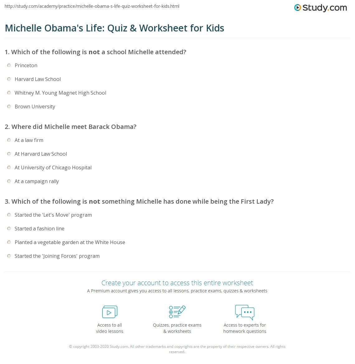 Michelle Obama S Life Quiz Amp Worksheet For Kids