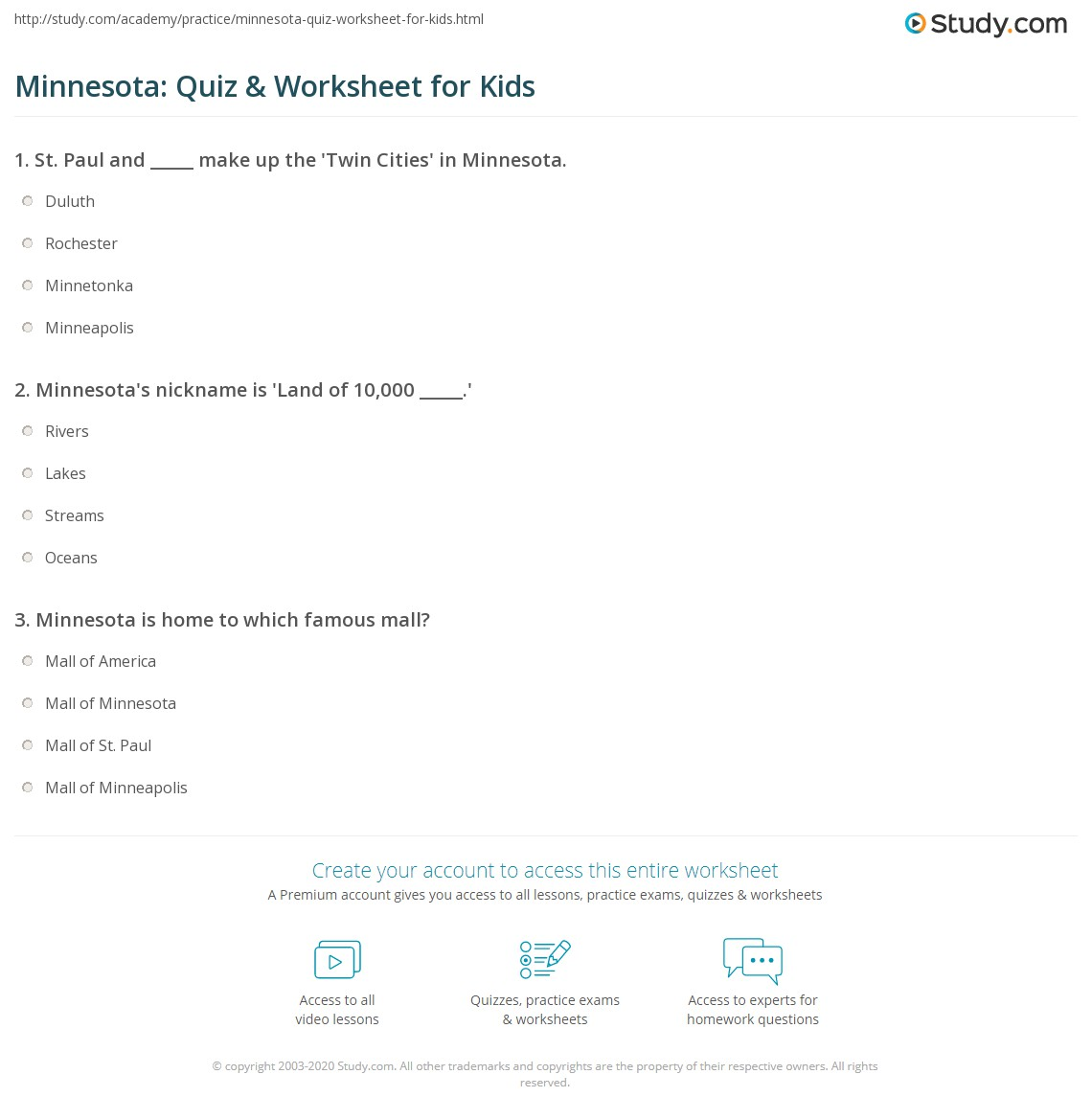 Minnesota Quiz Amp Worksheet For Kids