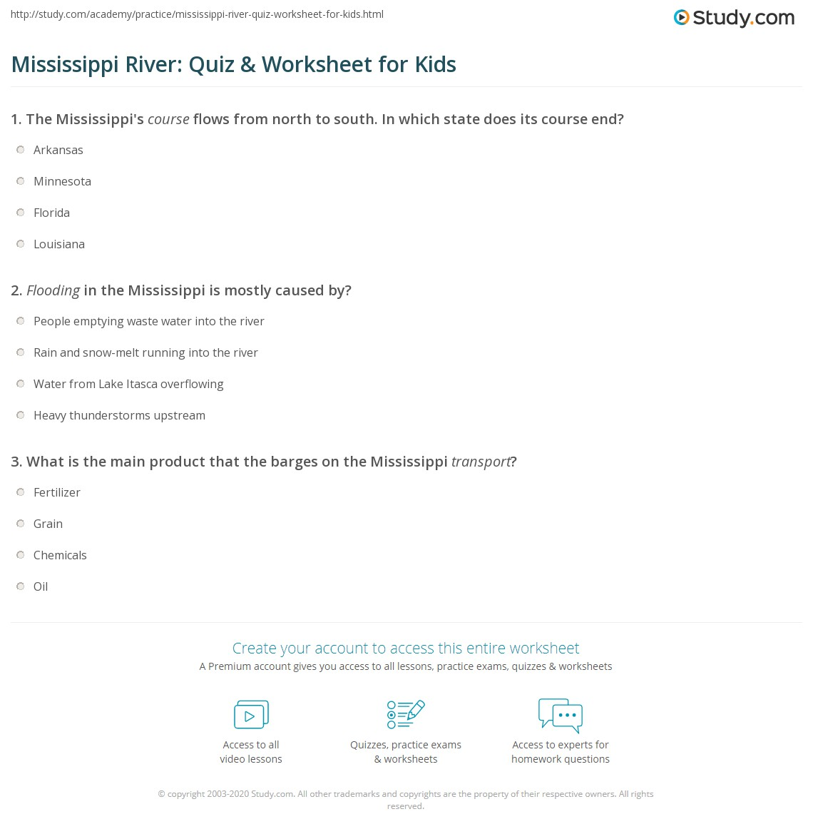 Mississippi River Quiz Amp Worksheet For Kids