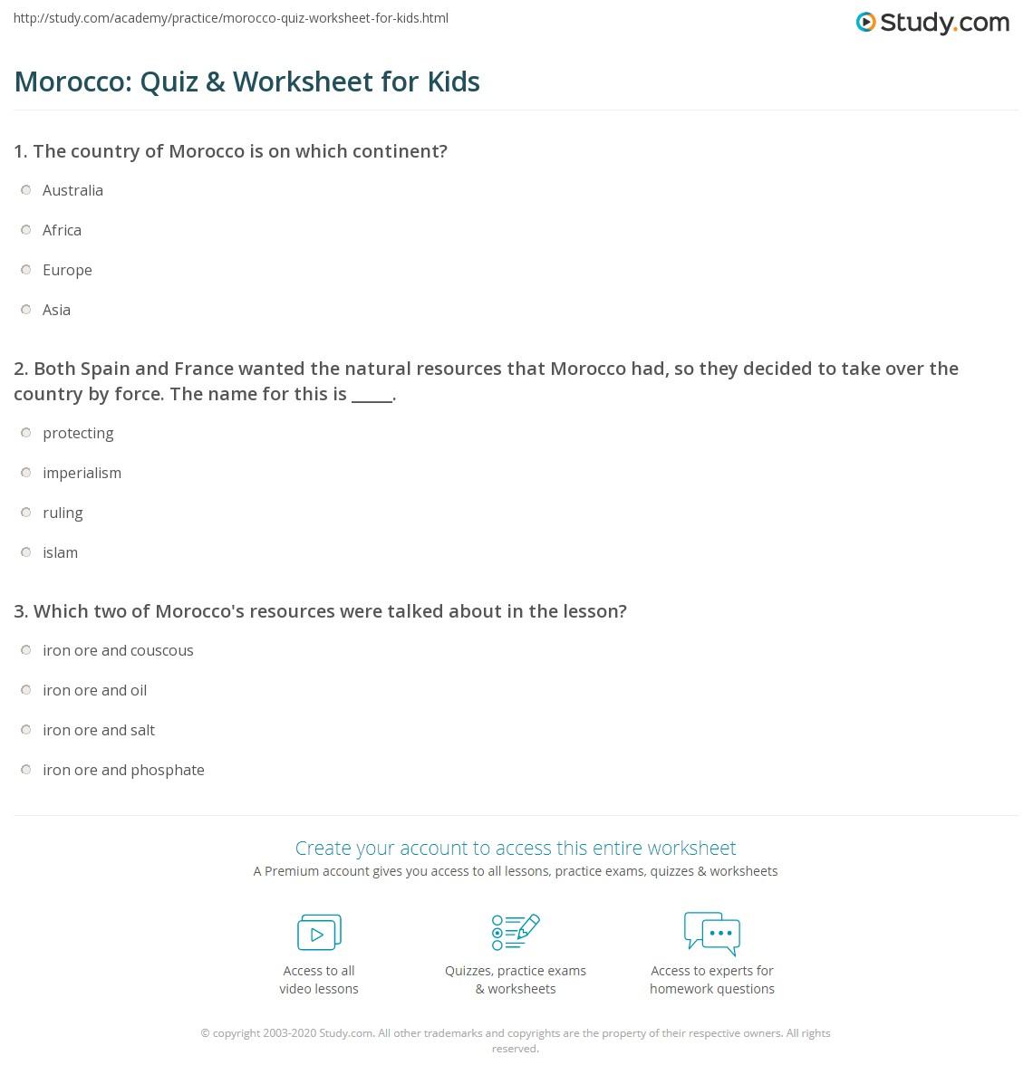 Morocco Quiz Amp Worksheet For Kids