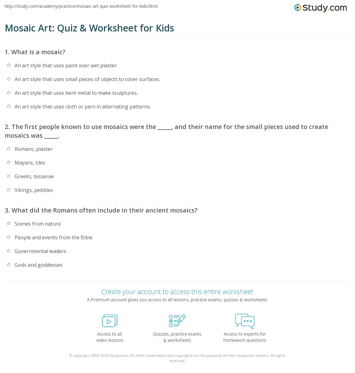 Mosaic Art Quiz Amp Worksheet For Kids