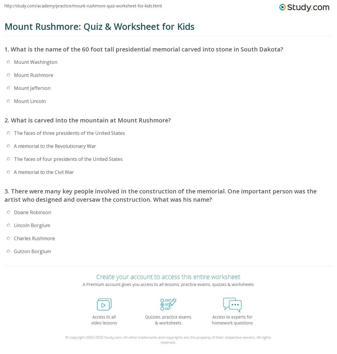 Mount Rushmore Quiz Amp Worksheet For Kids