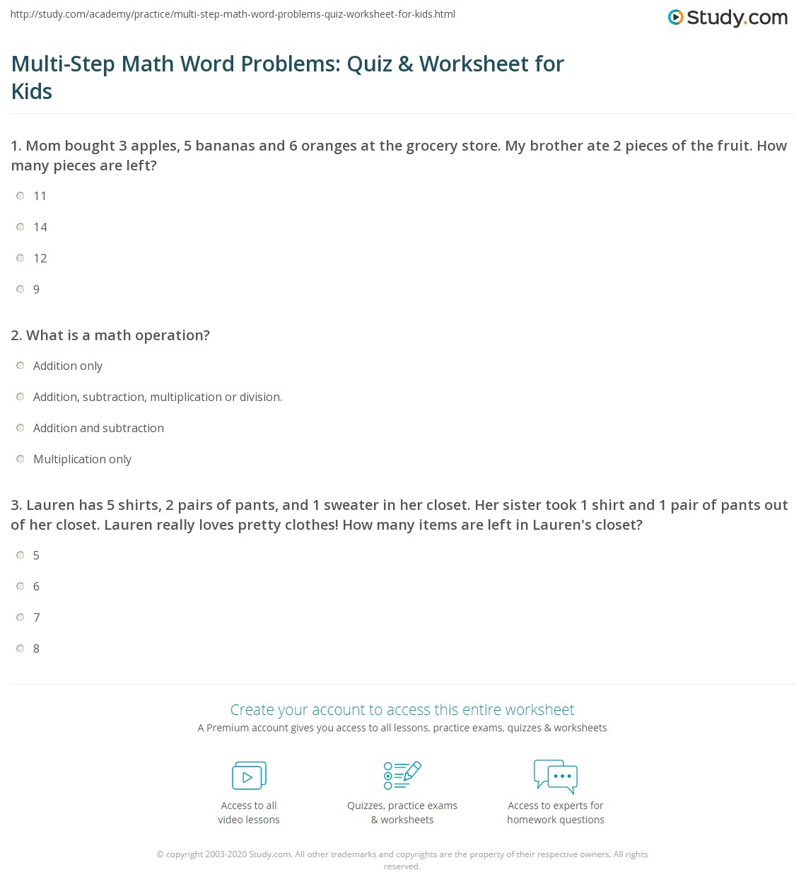 Multi Step Math Word Problems Quiz Amp Worksheet For Kids