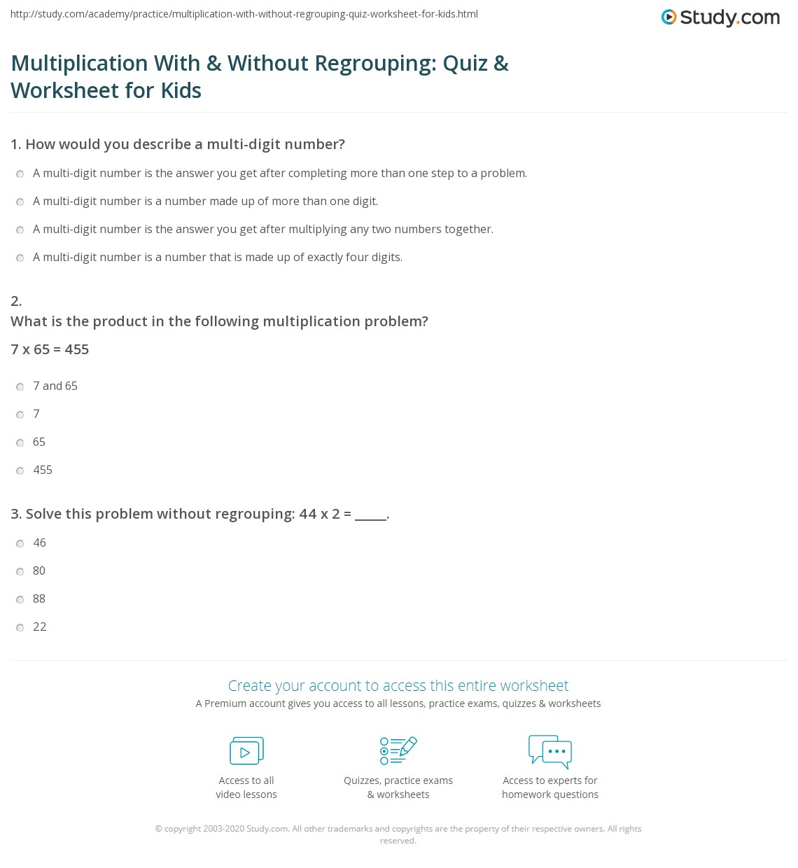 Multiplication With Amp Without Regrouping Quiz Amp Worksheet For Kids