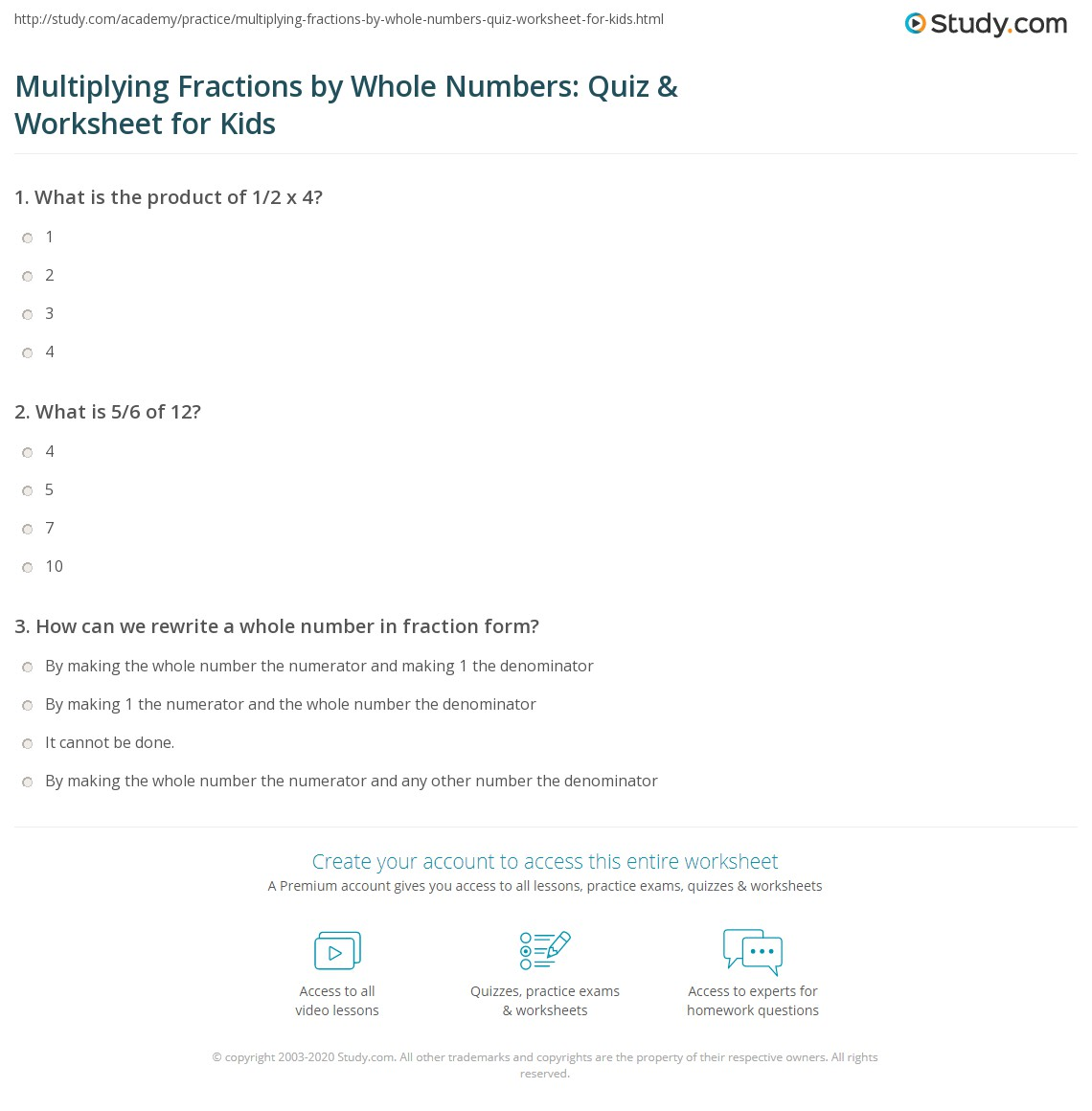 Multiplying Fractions By Whole Numbers Quiz Amp Worksheet For Kids
