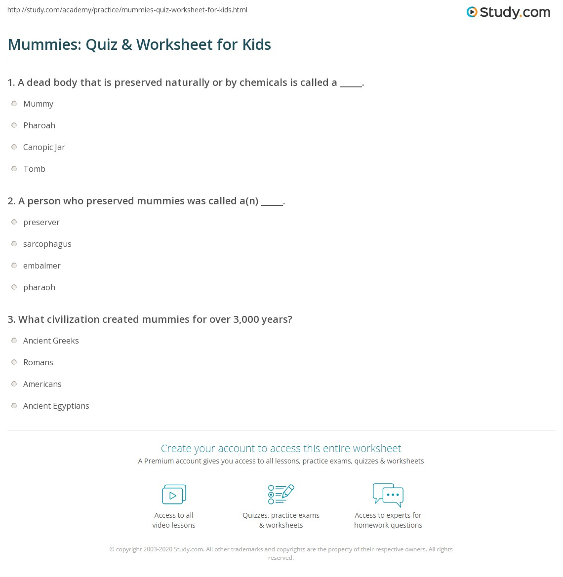 Mummies Quiz Amp Worksheet For Kids
